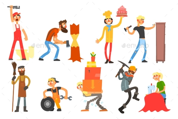 Flat Vector Set with People - People Characters
