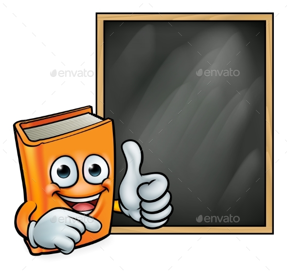Cartoon Book Giving Thumbs Up and Blackboard - Miscellaneous Vectors