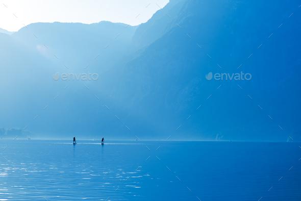 Stand up paddle boarding on lake Bohinj - Stock Photo - Images