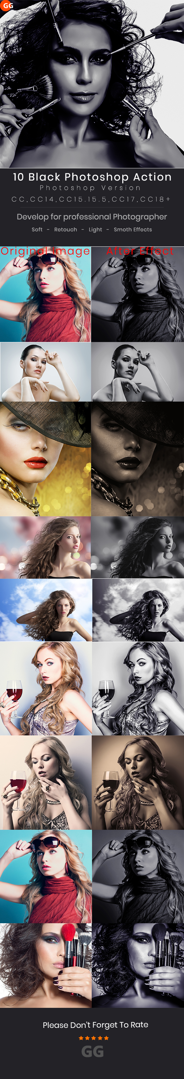 10 Dark Black Photoshop Action - Photo Effects Actions