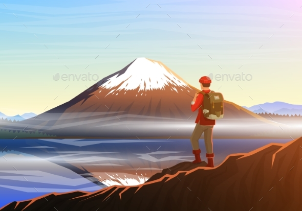 Mountain Fuji with Tourist, Morning Panoramic View - Landscapes Nature