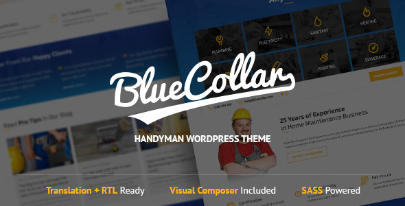 Blue Collar - Handyman WordPress Theme - Business Corporate