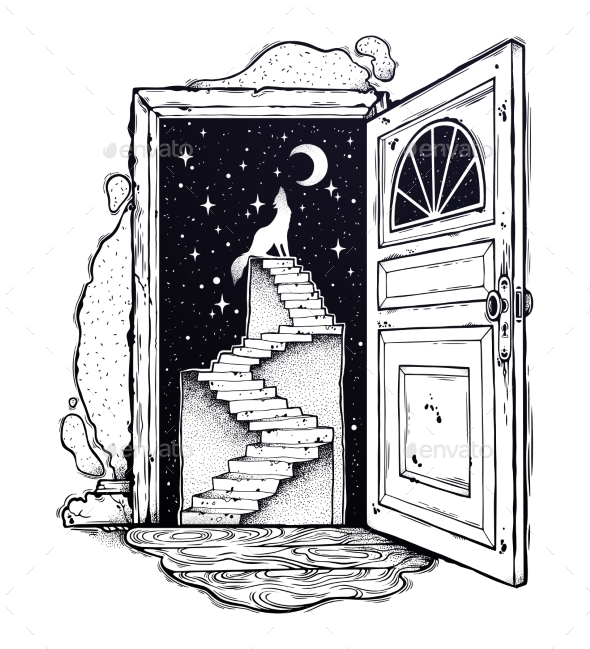 Open Door Into a Dream, Stairway To the Sky, Wolf. - Landscapes Nature