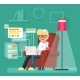 Work at Home Man Sit in Armchair with Laptop - GraphicRiver Item for Sale