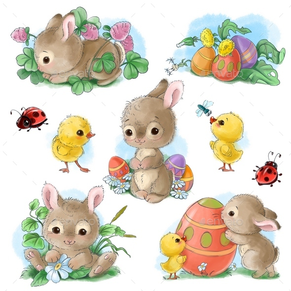Cute Bunny Easter Sticker Clipart Set in Vintage Watercolor Style - Animals Illustrations
