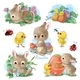 Cute Bunny Easter Sticker Clipart Set in Vintage Watercolor Style - GraphicRiver Item for Sale