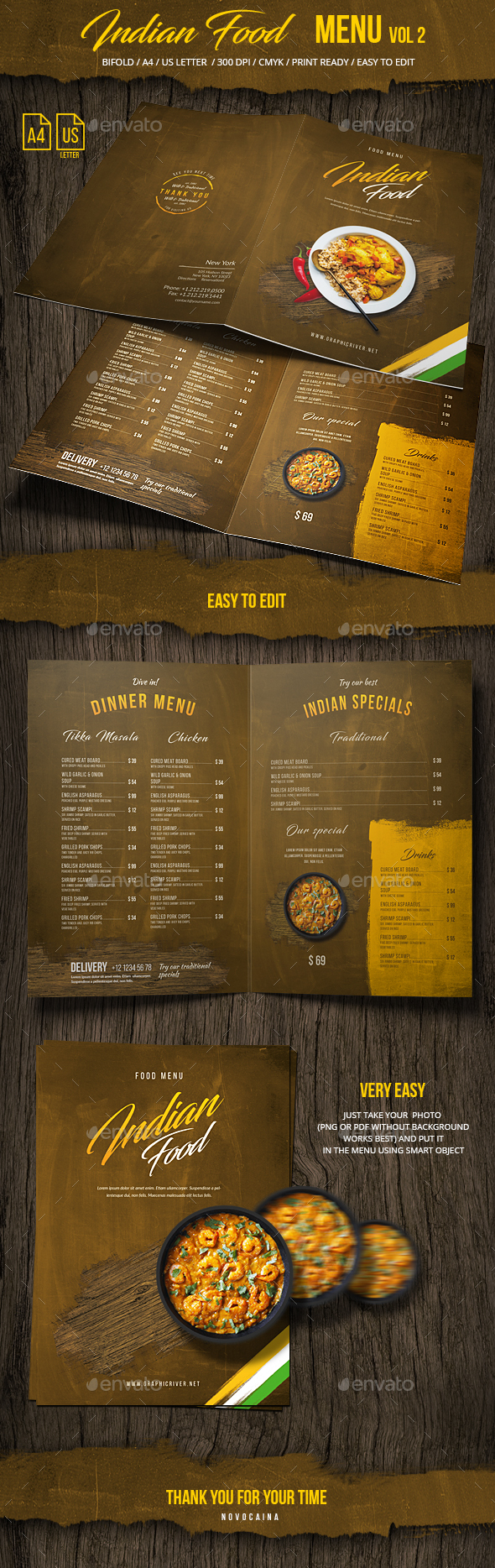 Indian Food Menu A4 & US Letter - Bifold -  Vol 2 - Food Menus Print Templates