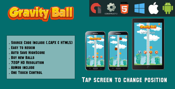 Gravity Ball - HTML5 Game - Mobile Version (.CAPX & HTML) - CodeCanyon Item for Sale