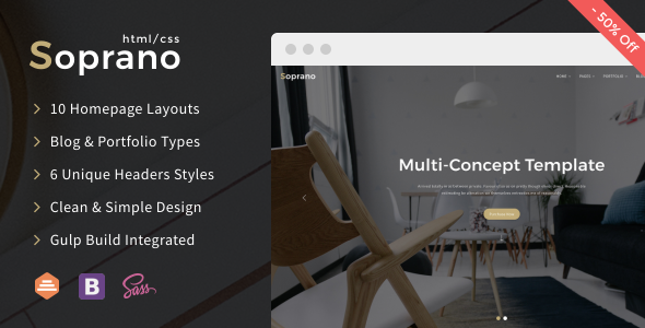 Image of Soprano - Clean Multi-Concept HTML5/CSS3 Template