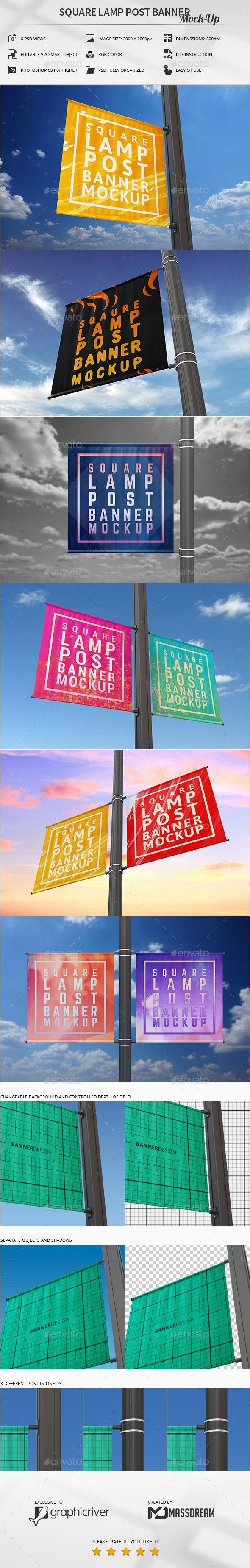 Square Lamp Post Banner Mock-Up - Signage Print