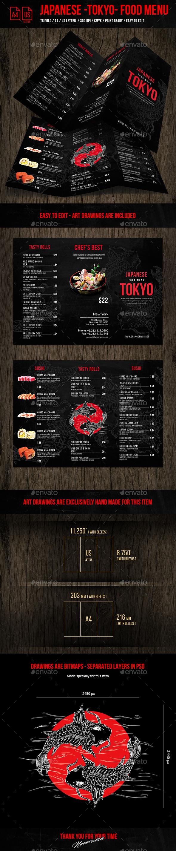 Japanese A4& US Letter Trifold Food Menu - Food Menus Print Templates