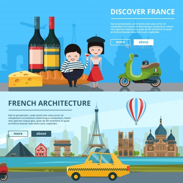 Banners Set of French Landmarks - Buildings Objects