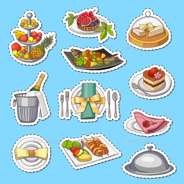 Vector Hand Drawn Restaurant or Room Service - Food Objects