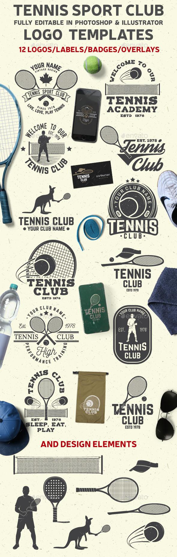 Tennis Club Badges - Badges & Stickers Web Elements