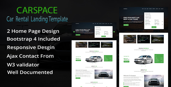 Carspace- Car Rental Landing HTML5 Template - Business Corporate