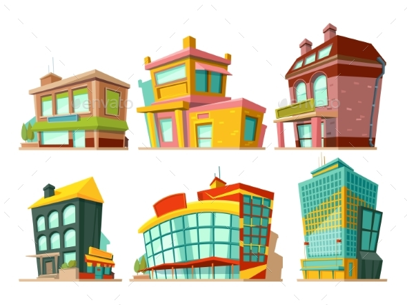 Cartoon Buildings. Vector Illustrations Set - Buildings Objects