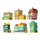 Cartoon Buildings. Vector Illustrations Set