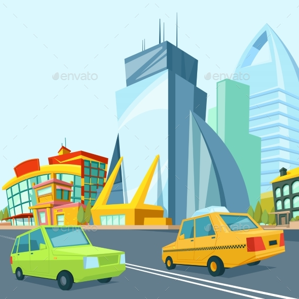 Cartoon Urban Landscape with Modern Buildings - Objects Vectors