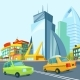 Cartoon Urban Landscape with Modern Buildings - GraphicRiver Item for Sale