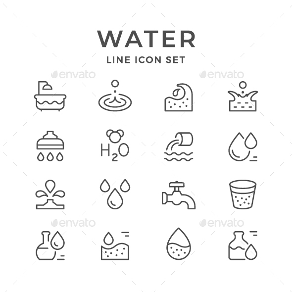 Set Line Icons of Water - Man-made objects Objects