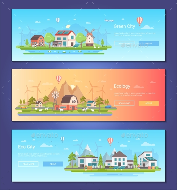 Eco City - Set of Modern Flat Design Style Vector - Buildings Objects