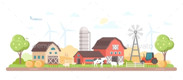 Village - Modern Flat Design Style Vector - Buildings Objects