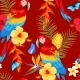 Seamless Macaw and Flowers - GraphicRiver Item for Sale