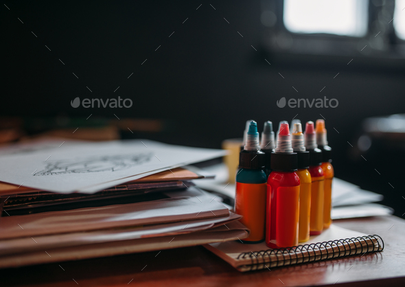 Color inks for professional tattooing closeup - Stock Photo - Images