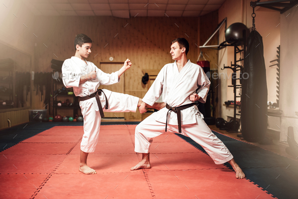 Martial arts masters, self-defence practice in gym - Stock Photo - Images