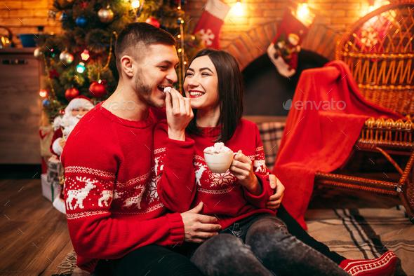 Love couple, romantic xmas celebration - Stock Photo - Images