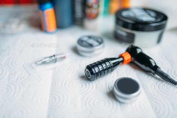 Tattoo artist workplace, tools for tattooing - Stock Photo - Images