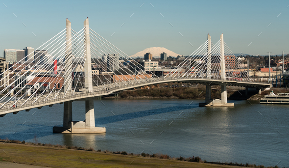 People Move Across Portland Bridge Willamette River Mount St Helens - Stock Photo - Images
