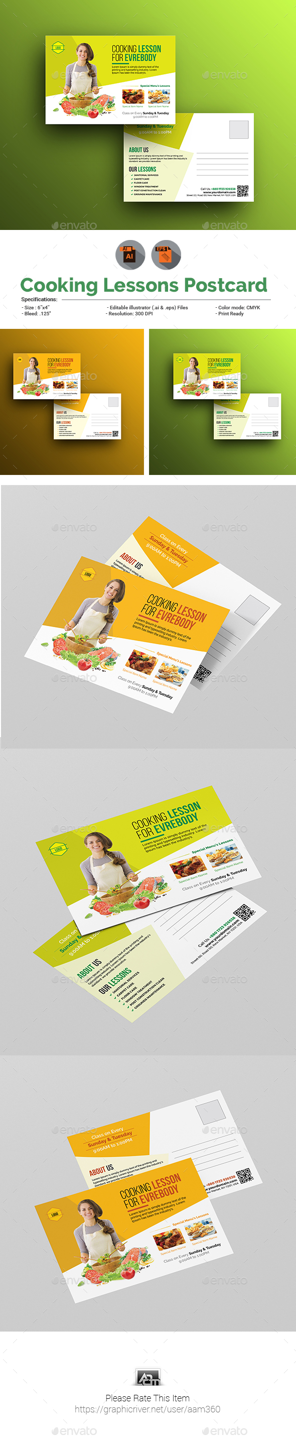 Cooking Lessons Postcard Template - Cards & Invites Print Templates