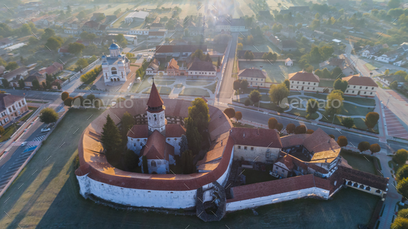 Aerial view of Prejmer fortified Church. Brasov, Romania - Stock Photo - Images