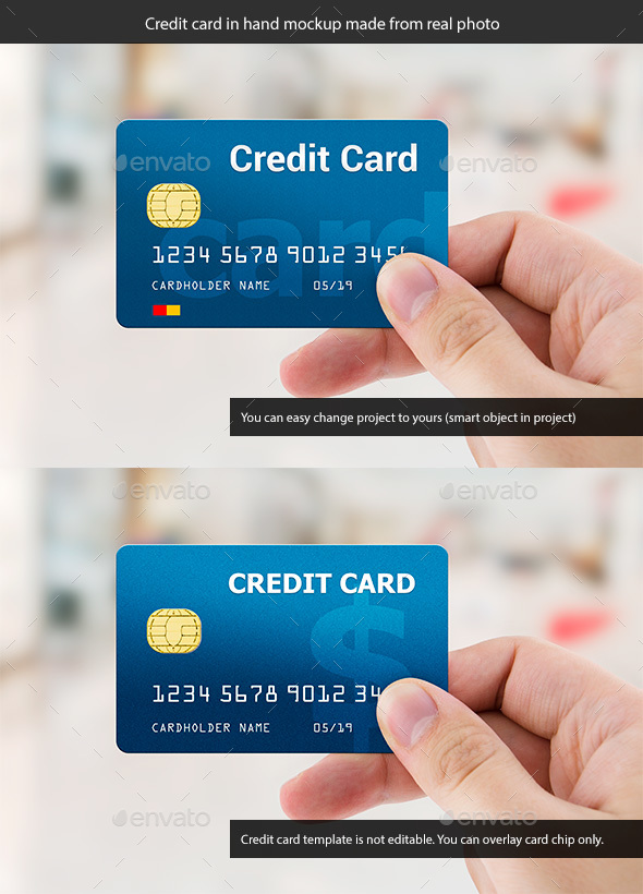 Credit or Business Card in Hand. Mockup Made from Real Photo - Business Cards Print