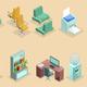 Isometric Office Interior Elements Set