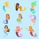 Mermaid Vector Girl Character Design Coral Set