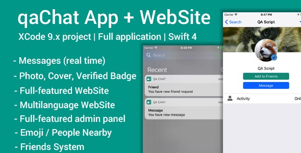 qaChat (iOS App and Website) - Swift 4 - CodeCanyon Item for Sale