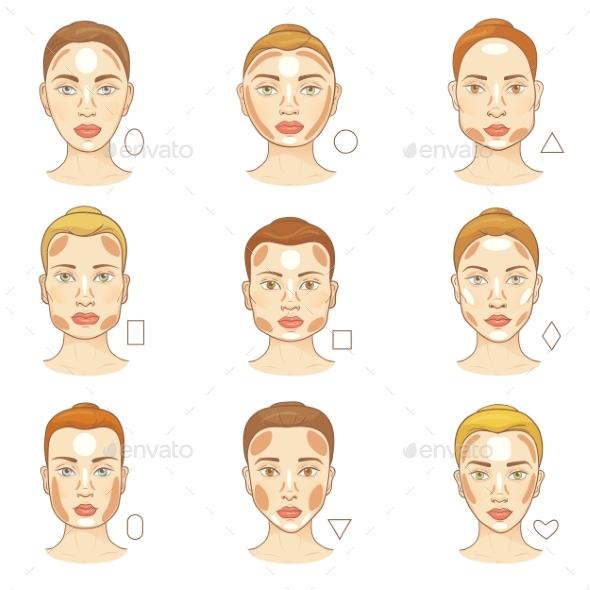 Woman Face Type Vector Female Character Portrait - Miscellaneous Vectors