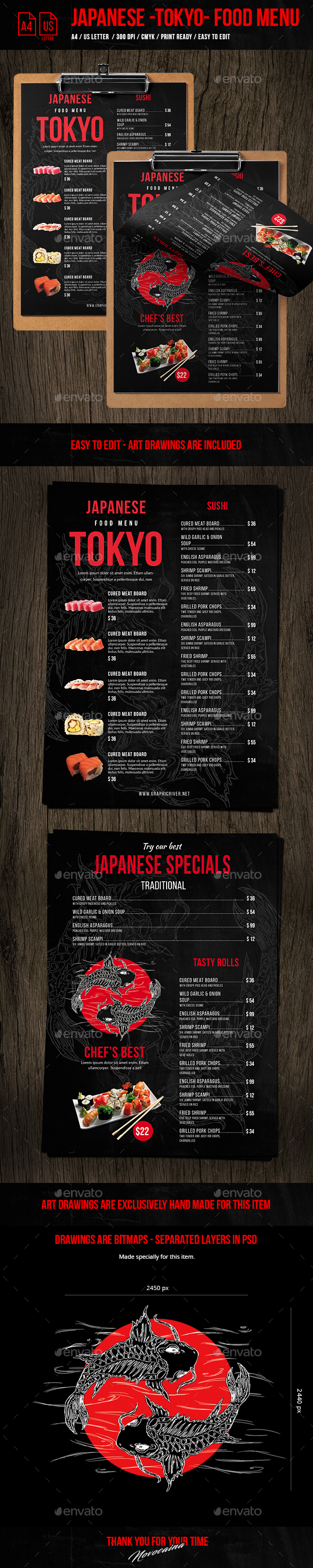 Japanese Single Page A4 & US Letter Food Menu - Food Menus Print Templates
