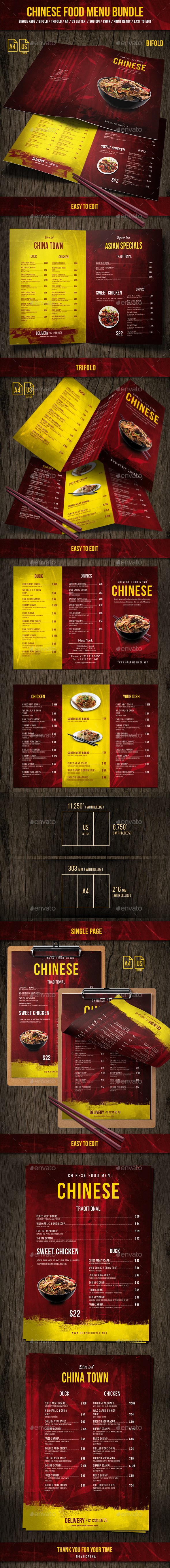 Chinese Food Menu Bundle - Food Menus Print Templates