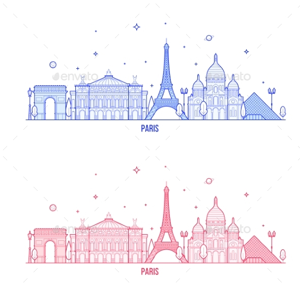 Paris Skyline France City Notable Buildings Vector - Buildings Objects
