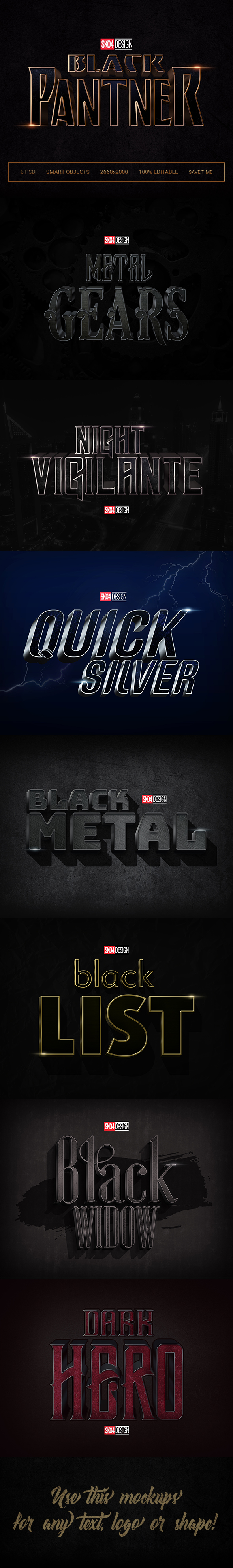 Black & Metal 3D - 8 PSD Cinematic Effects - Text Effects Actions