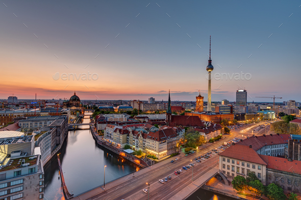 Downtown Berlin with the famous Television Tower - Stock Photo - Images