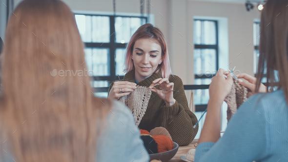 Knitting teacher - Stock Photo - Images