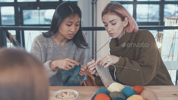 Knitting lessons - Stock Photo - Images