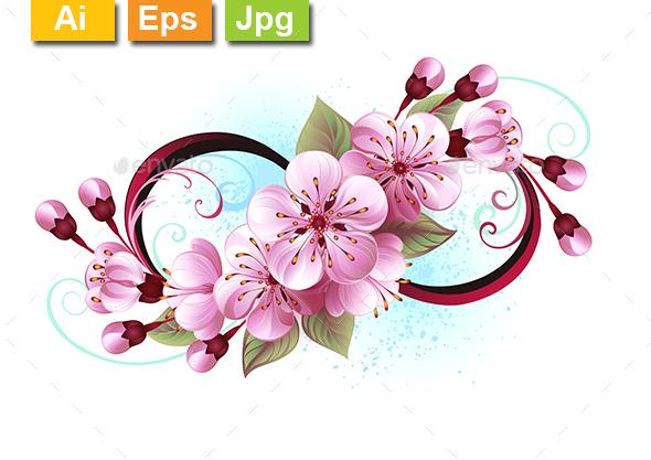 Infinity with Sakura Blossom - Tattoos Vectors