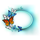 Oval Banner with Summer Butterflies