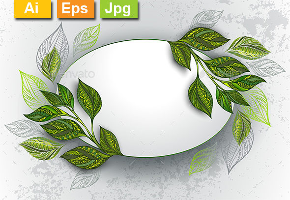 Oval Banner with Tea Leaves - Borders Decorative