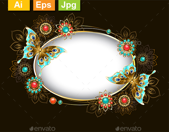 Oval Banner with Turquoise Butterflies - Borders Decorative